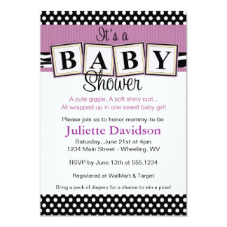 purple zebra baby shower invitations  announcements  zazzle, Baby shower invitations