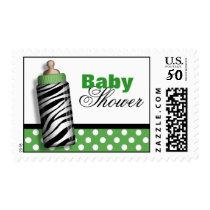Zebra Print Baby Bottle Green Baby Shower Postage