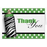 Zebra Print Baby Bottle Green Thank You Cards