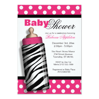 Zebra Print Baby Bottle Hot Pink Baby Shower Card