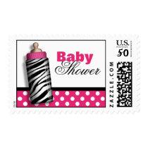 Zebra Print Baby Bottle Hot Pink Baby Shower Postage