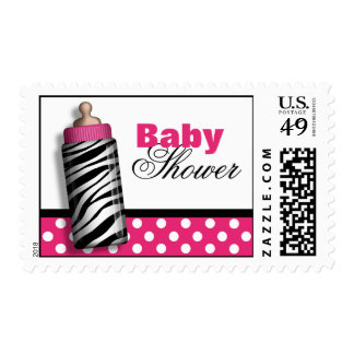 Zebra Print Baby Bottle Hot Pink Baby Shower Postage Stamp