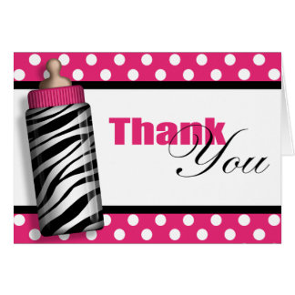 Zebra Print Baby Bottle Hot Pink Thank You Cards