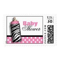 Zebra Print Baby Bottle Pink Baby Shower Postage