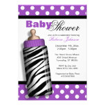 Zebra Print Baby Bottle Purple Baby Shower Personalized Invitation