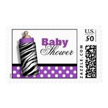 Zebra Print Baby Bottle Purple Baby Shower Postage