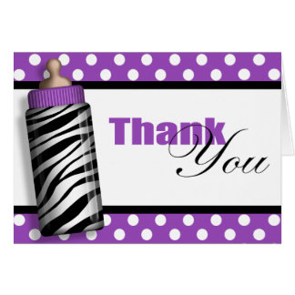Zebra Print Baby Bottle Purple Thank You Cards
