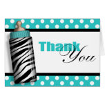 Zebra Print Baby Bottle Teal Thank You Cards