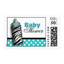 Zebra Print Baby Bottle Turquoise Baby Shower Postage