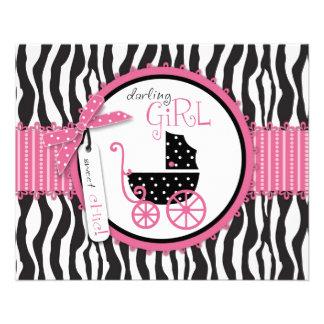 "Zebra Print & Baby Carriage Advice Card 4.5"" X 5.6"" Flyer"