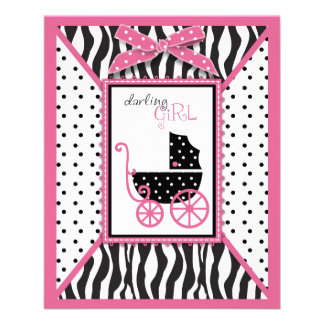 Zebra Print & Baby Carriage Advice Card Full Color Flyer