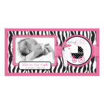 Zebra Print & Baby Carriage Announcement Photo Card