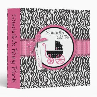 Zebra Print & Baby Carriage Baby Album Vinyl Binder