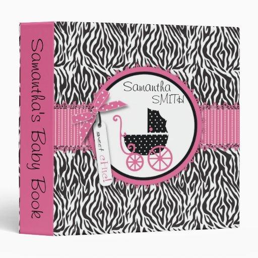 Zebra Print & Baby Carriage Baby Album 3 Ring Binders