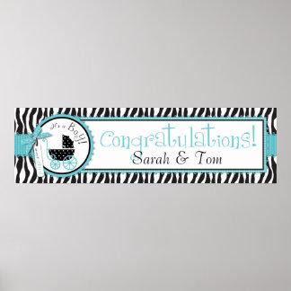 Zebra Print & Baby Carriage Baby Shower Banner