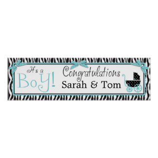 Zebra Print & Baby Carriage Baby Shower Banner