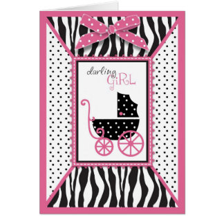 Zebra Print & Baby Carriage Baby Shower Greeting Card