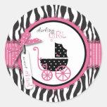 Zebra Print & Baby Carriage Baby Shower Classic Round Sticker