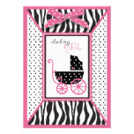 Zebra Print & Baby Carriage Baby Shower Custom Invites