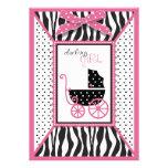 Zebra Print & Baby Carriage Baby Shower Invitation