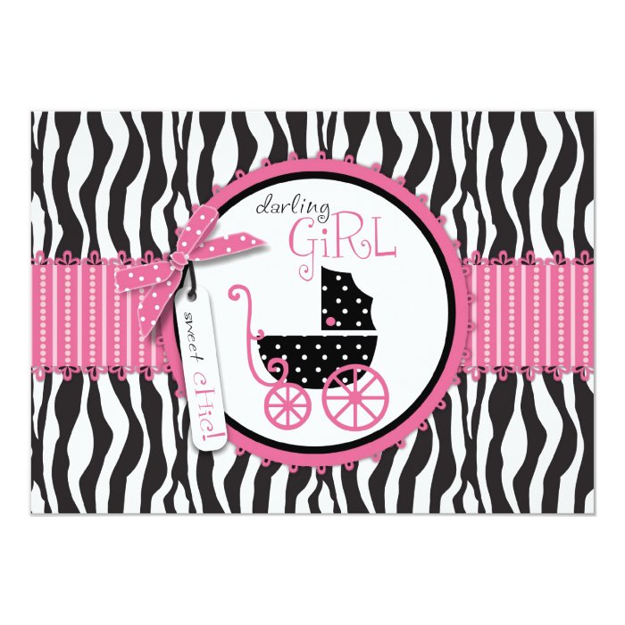 zebra print baby carriage baby shower invitation zazzle