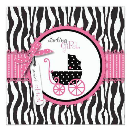 Zebra Print & Baby Carriage Baby Shower Invitation