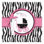 Zebra Print & Baby Carriage Baby Shower Custom Invitation