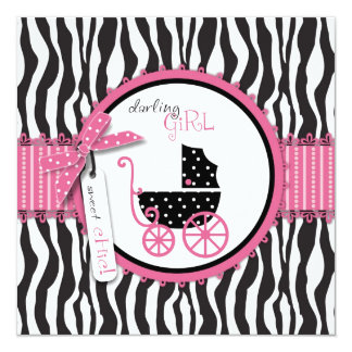 Zebra Print & Baby Carriage Baby Shower 5.25x5.25 Square Paper Invitation Card