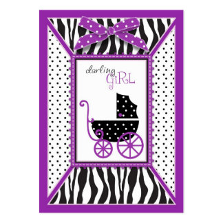 Zebra Print & Baby Carriage Baby Shower Large Business Card