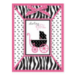 Zebra Print & Baby Carriage Baby Shower Post Card