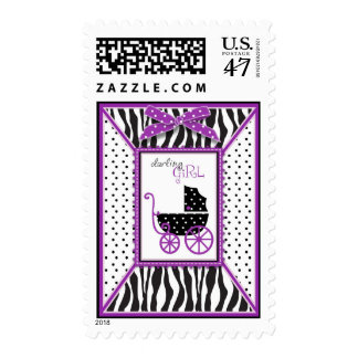 Zebra Print & Baby Carriage Baby Shower Postage
