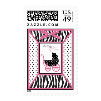 Zebra Print & Baby Carriage Baby Shower Postage Stamp