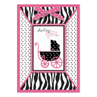Zebra Print & Baby Carriage Baby Shower Reminder Business Cards