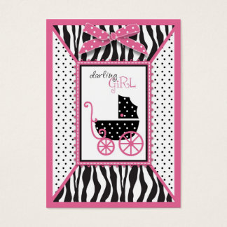Zebra Print & Baby Carriage Baby Shower Reminder Business Card