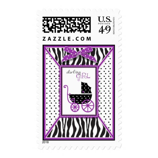 Zebra Print & Baby Carriage Baby Shower Stamps