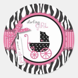 Zebra Print & Baby Carriage Baby Shower Round Sticker