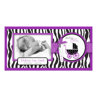 Zebra Print & Baby Carriage Birth Announcement