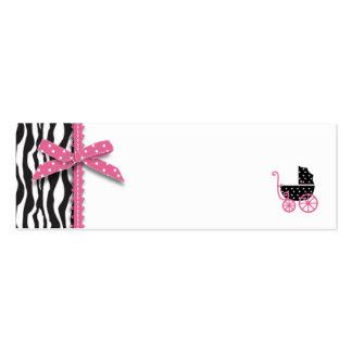 Zebra Print & Baby Carriage Gift Tag Mini Business Card