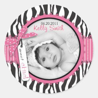 Zebra Print & Baby Carriage Photo Insert Classic Round Sticker