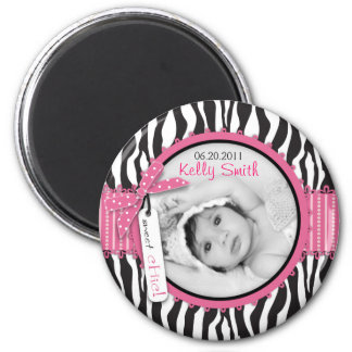 Zebra Print & Baby Carriage Photo Insert Magnet