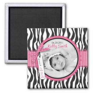 Zebra Print & Baby Carriage Photo Insert Refrigerator Magnet