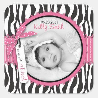 Zebra Print & Baby Carriage Photo Insert Square Sticker