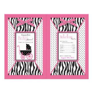 """Zebra Print & Baby Carriage Popcorn Wrapper 8.5"""" X 11"""" Flyer"""