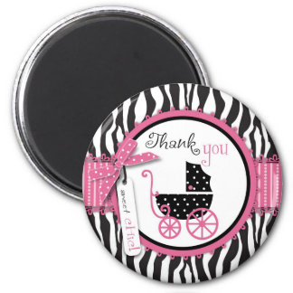 Zebra Print & Baby Carriage Thank You 2 Inch Round Magnet