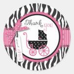 Zebra Print & Baby Carriage Thank You Classic Round Sticker
