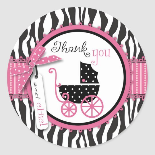 Zebra Print & Baby Carriage Thank You Classic Round Sticker