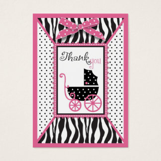 Zebra Print & Baby Carriage Thank You Gift Tag