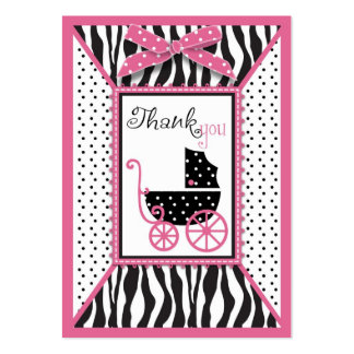 Zebra Print & Baby Carriage Thank You Gift Tag Large Business Card