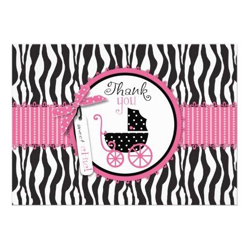 Zebra Print & Baby Carriage Thank You Custom Invitations