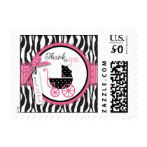 Zebra Print & Baby Carriage Thank You Postage